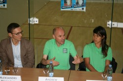 Andrew Shelley explains his point at the press conference at Zelta, flanked by Aleksandrs Pavulans and Nicol David